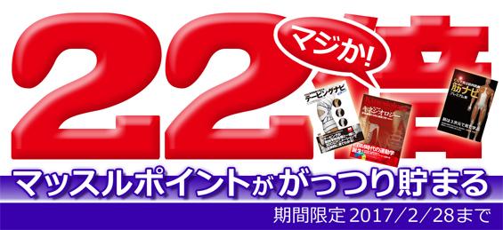 全商品対象マッスルポイント22倍キャンペーン(22%還元)